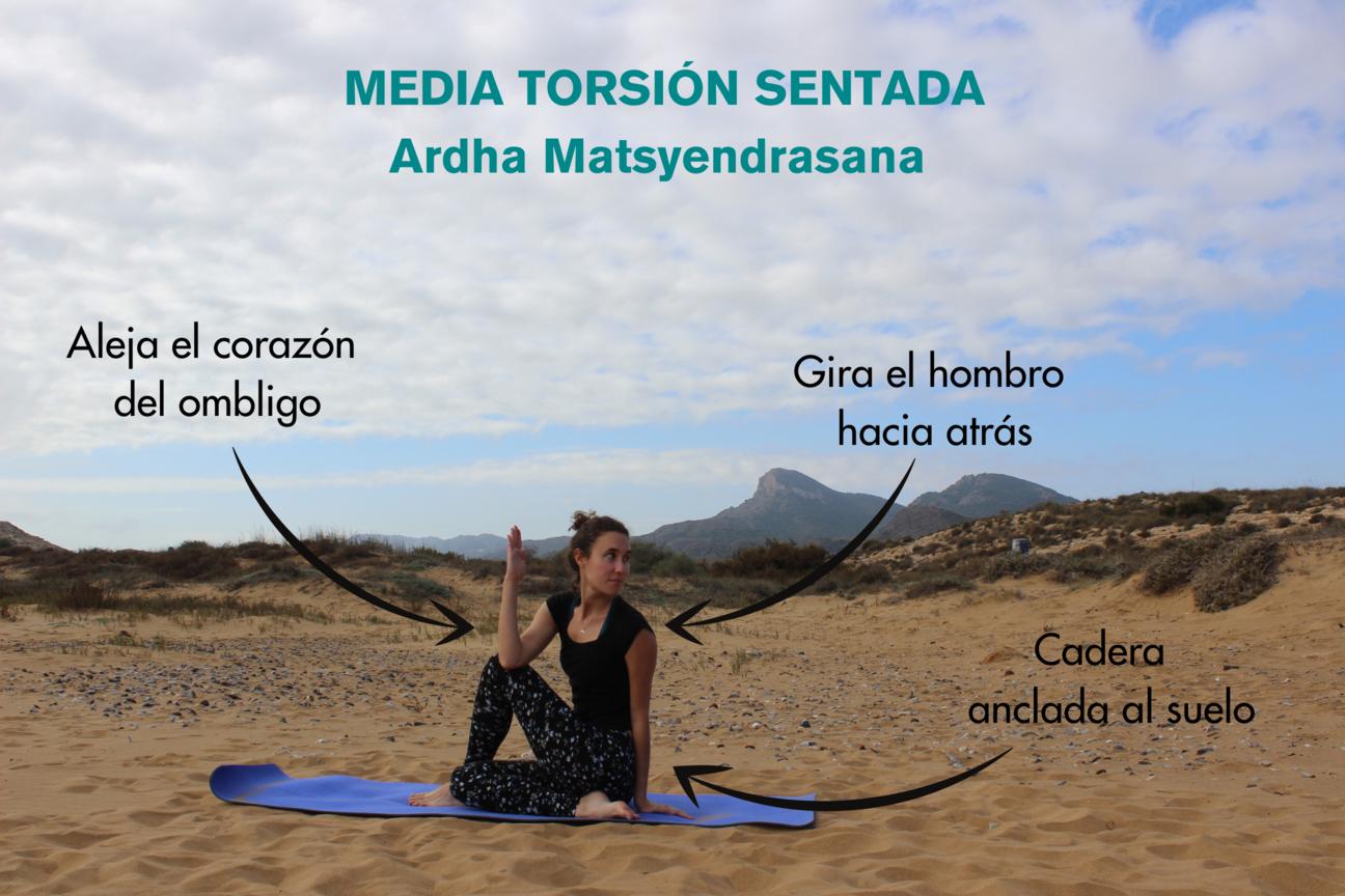 instrucciones paso a paso para postura de la torsión sentada ardha matsyendrasana