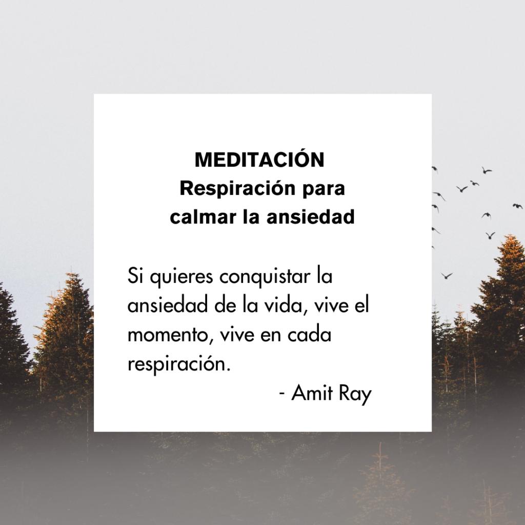 Meditación: respiración para calmar la ansiedad. Si quieres conquistar la ansiedad de la vida, vive el momento, vive en cada respiración. Amit Ray (cita)