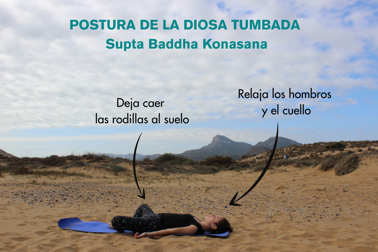 Instrucciones paso a paso de la postura de la diosa tumbada supta baddha konasana yoga